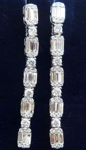 Stunning art deco 18ct 18k white gold 1.45ct baguette diamond vintage antique dangle earrings