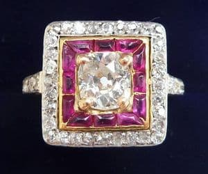 Stunning art deco 18ct and white gold ruby and 1.29ct diamond cluster vintage antique ring