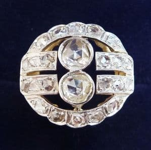 Stunning edwardian 18ct 18k and white gold 1.28ct rose diamond vintage antique cluster ring small Si