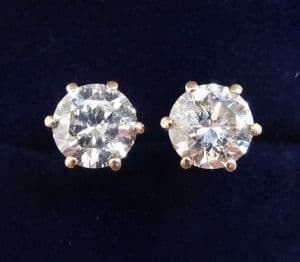 Stunning victorian 18ct 18k gold 2ct old cut diamond stud vintage antique earrings