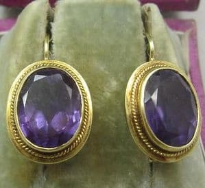 Superb 14ct gold  Victorian Large faceted single stone Amethyst earrings.