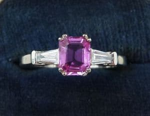 Vintage antique 18ct 18k white gold pink sapphire and baguette diamond trilogy ring