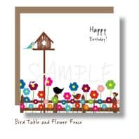 Bird Table and Flowers Card