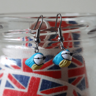 Blue Tit Bird Dangle Earrings