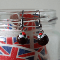 Christmas Pudding Dangle Earrings