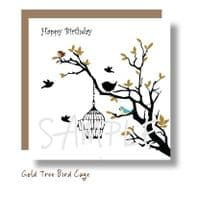 Gold Tree Bird Cage Card