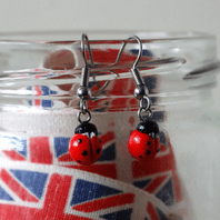 Ladybird Dangle Earrings