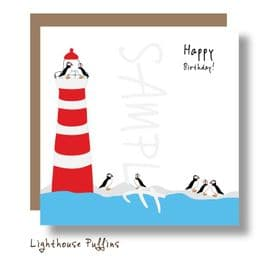Lighthouse Puffins Card