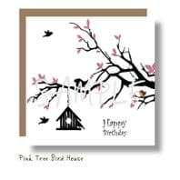 Pink Tree Bird House Card