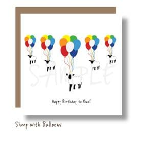 Sheep with Balloons Card