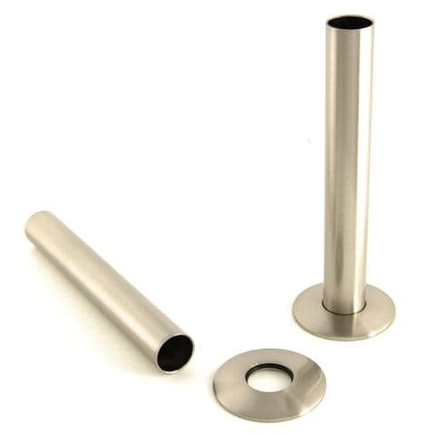 Cast Iron Radiator Pipe Shrouds 130mm - Satin Nickel