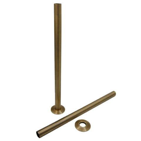 Cast Iron Radiator Pipe Shrouds 300mm - Antique Brass