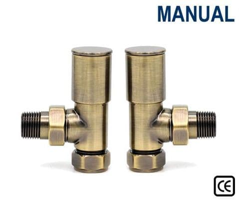 Contemporary Radiator Valves - Straight or Angled - Antique Brass