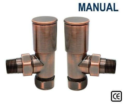 Contemporary Radiator Valves - Straight or Angled - Antique Copper