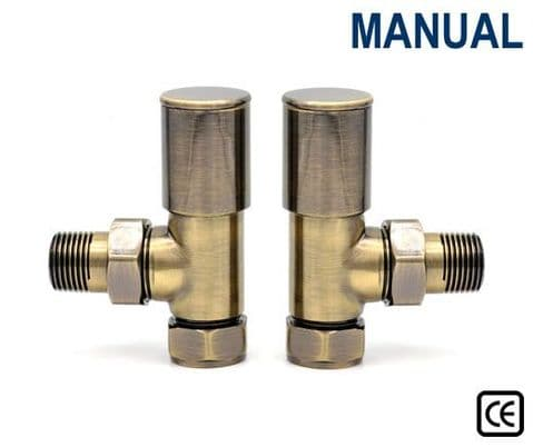 Contemporary Radiator Valves - Straight or Angled - Antique Copper