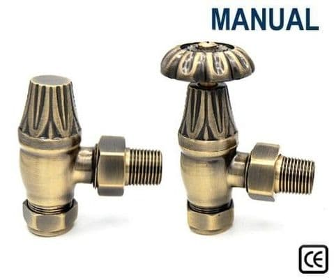 Manual Crocus Radiator Valves - Antique Brass