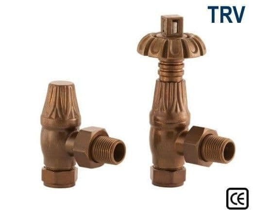 Thermostatic Crocus Radiator Valves - Antique Brass
