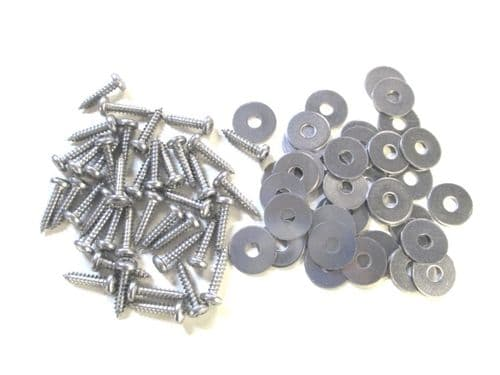 Set of 38 screws with washers for attaching sill covers.