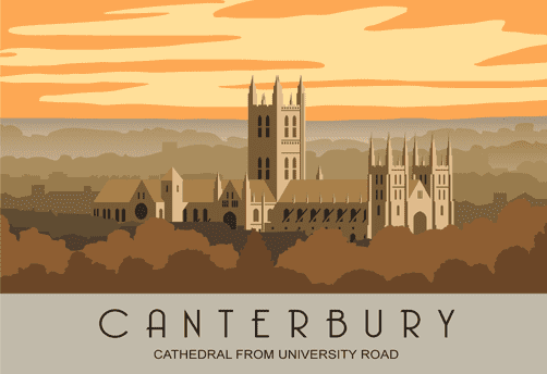 Canterbury Cathedral in Kent Greetings Card - blank for your own message