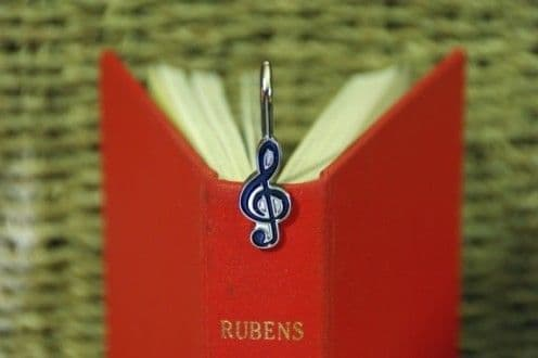 MUSIC BOOKMARK - stainless steel bookmark. Treble cleff shape