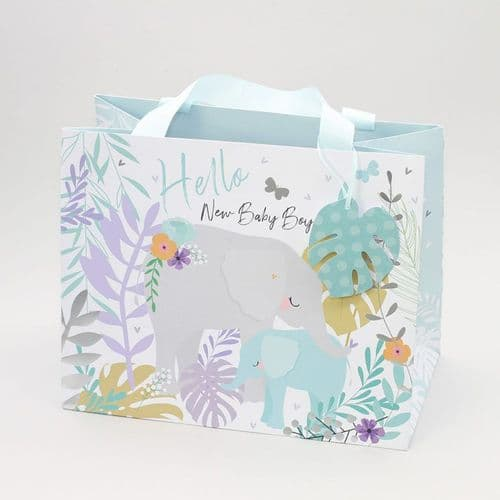 Belly Button - Tote Gift Bag Blue Elephant - New Baby