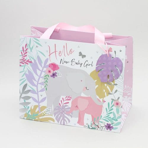 Belly Button -Tote Gift Bag Elephant Pink New Baby