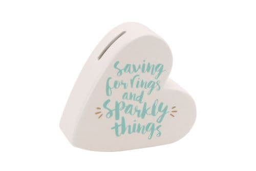 CGB - Ceramic Heart Shaped Bank - Saving For Sparkly Things