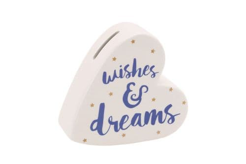 CGB - Ceramic Heart Shaped Money Box - Wishes & Dreams