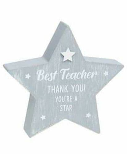 Cool Grey Standing Star - Best Teacher (904)