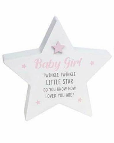 Cool White Standing Star - Baby Girl -Twinkle (905)
