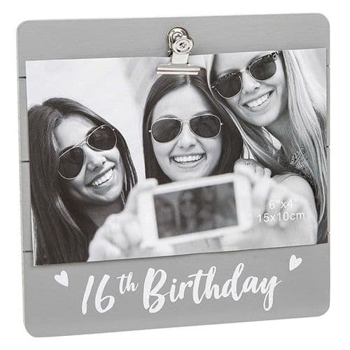 Cute Grey Clip Frame - 16th Birthday (930)