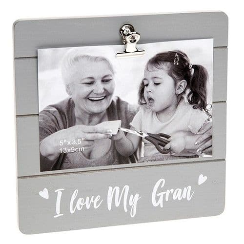 Cute Grey Clip Frame - I Love My Gran (030)