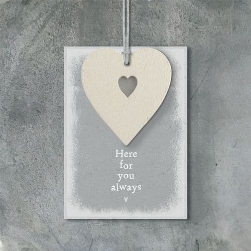 East Of India - Cream Heart Tag  - Here For You Always (490E)