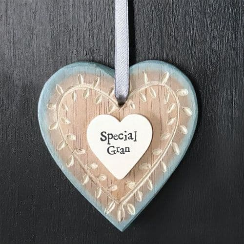 East Of India - Hanging Wooden Heart - Special Gran