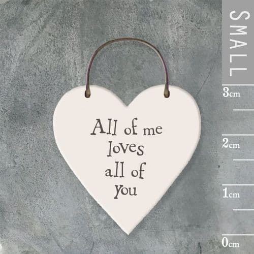 East Of India - Mini Heart Token - All Of Me Loves All Of You 2854