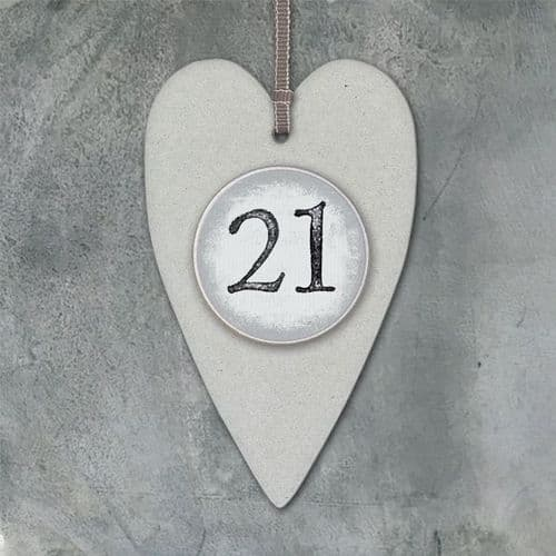 East Of India - Number Heart Tag - 21