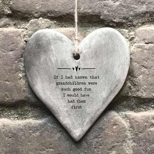 East of India - Rustic Hanging Heart - Grandchildren (7406)