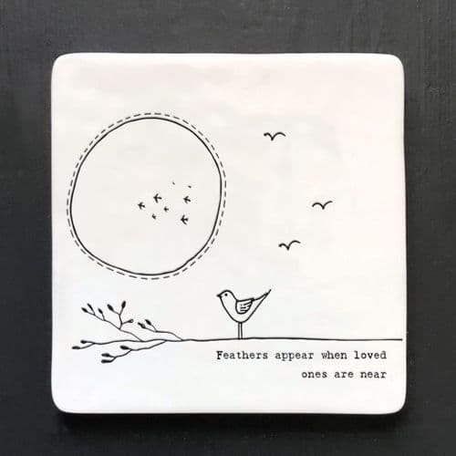East Of India - Twig Porcelain Coaster - Feathers Appear 163