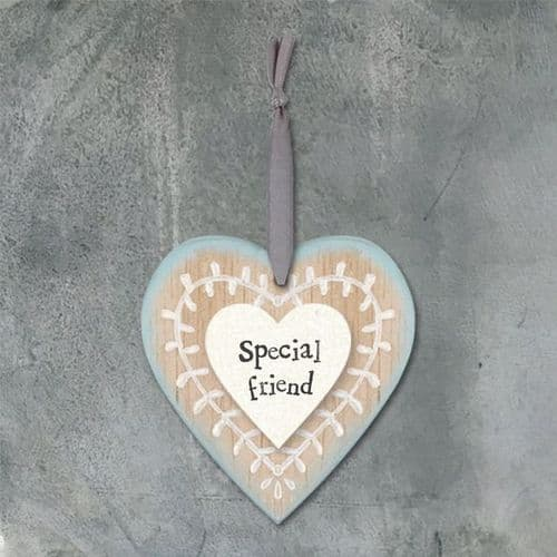 East Of India - Wooden Hanging Heart - Special Friend (469)