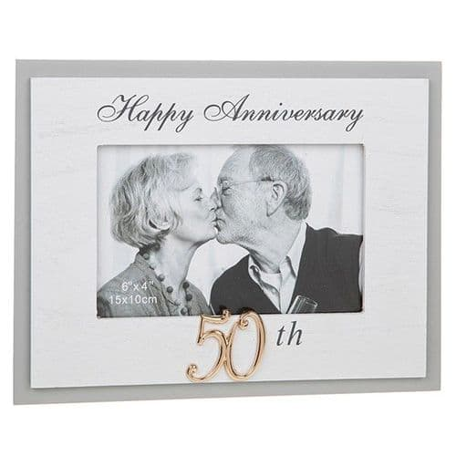 Grey Modern Anniversary Frame - Golden 50th (957)