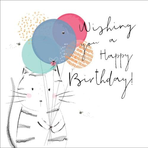 Handcrafted - Hedgerow - Happy Birthday Cat - Card