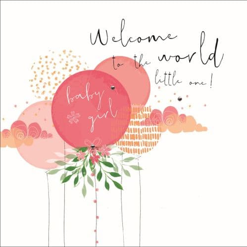 Handcrafted - Hedgerow - Welcome Baby Girl Card