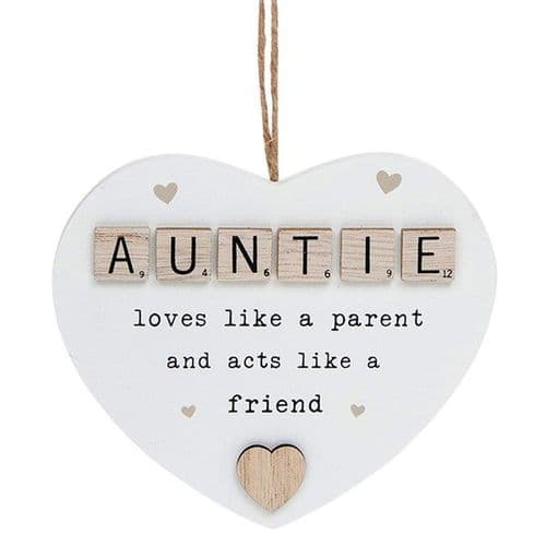Hanging Scrabble Heart - Auntie (873)