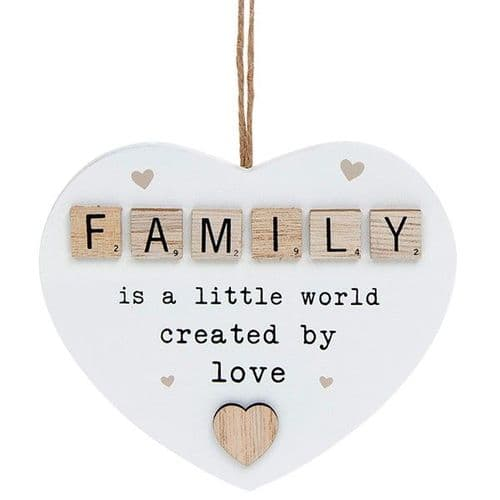 Hanging Scrabble Heart - Family (874)