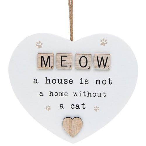 Hanging Scrabble Heart - Meow (878)