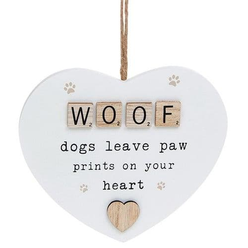 Hanging Scrabble Heart - Woof (877)