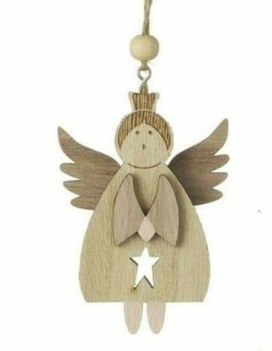 Heaven Sends - Hanging Wooden Angel with cut out star