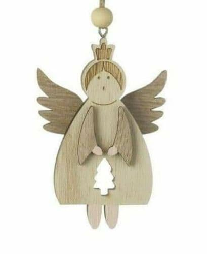 Heaven Sends - Hanging Wooden Angel with cut out tree