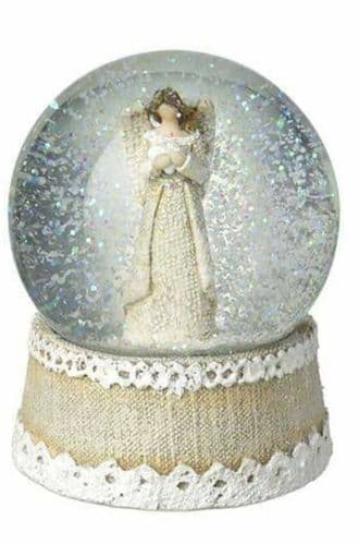 Heaven Sends - Snow Globe Angel With Heart In Hands
