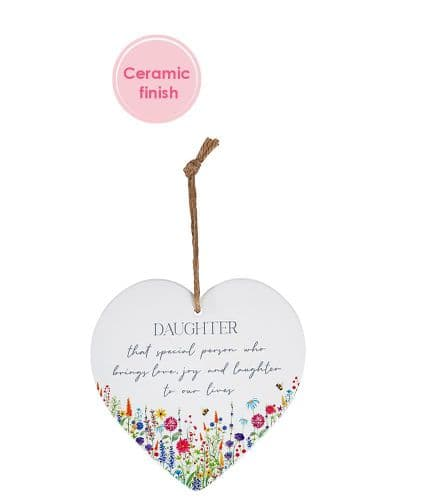 Langs - Ceramic Hanging Heart With Flowers - Daughter